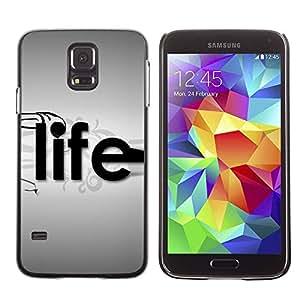 Paccase / SLIM PC / Aliminium Casa Carcasa Funda Case Cover para - Life Typography - Samsung Galaxy S5 SM-G900