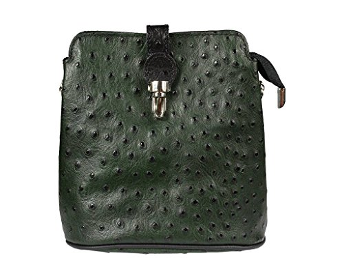 6335355c674a0 ... Schöne praktische Leder Kleine grüne Handtasche aus Leder Fibbia Verde  Nera über die Schulter