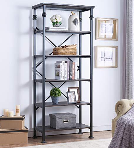 O K FURNITURE 6-Tier Open Back Bookshelf, Industrial Style Bookcases Furniture Decor Home Office, Black-Espresso