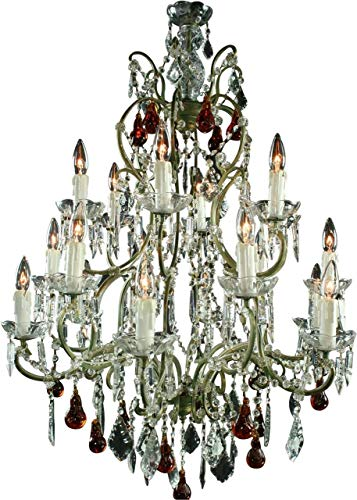 Large Maria Theresa Style Chandelier Amber Murano Glass Pendants 18 Lights