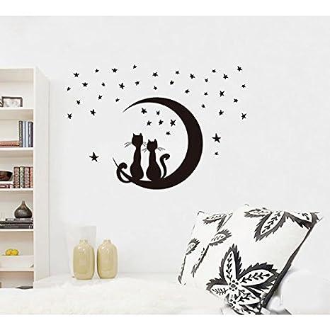 Sapdiscount Noche Estrellada Negro Gatos en la Luna Pegatinas de Pared Roma decoración de la Pared Vinilo Adhesivo extraíble: Amazon.es: Hogar