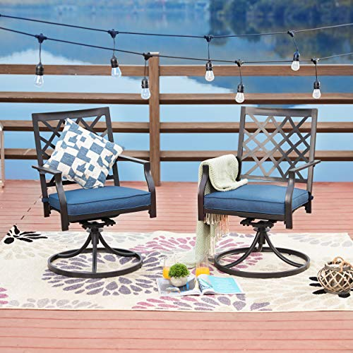 LOKATSE HOME Patio Swivel Rocker Furniture Metal Outdoor Dining Chairs with Cushion Set of 2, 2 Chairs-Blue, 2 Chairs-Blue (Furniture End Outdoor Clearance High)