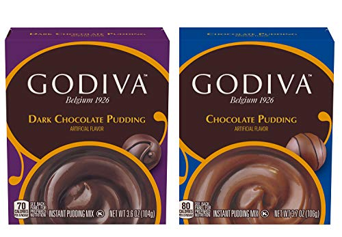Godiva Instant Pudding Mix Pack Of 2! 3.6 Oz Dark Chocolate and 3.7 Oz Chocolate! Rich Chocolate Flavored Pudding! Smooth And Creamy Texture! Easily Prepare A Deliciously Decadent Dessert In Minutes!