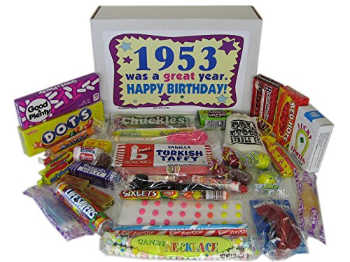 Woodstock Candy 1953 65th Birthday Gift Box - Retro Nostalgic Candy Mix for 65-Year-Old Man or Woman Jr. (Everything Chocolate Gift)