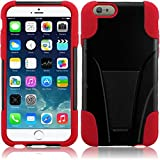 HR Wireless T-Stand Cover Case for Apple iPhone 6 Plus - Retail Packaging - Black/Red