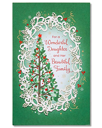 American Greetings Christmas Card for Daughter and Family with Glitter - Family Glitter