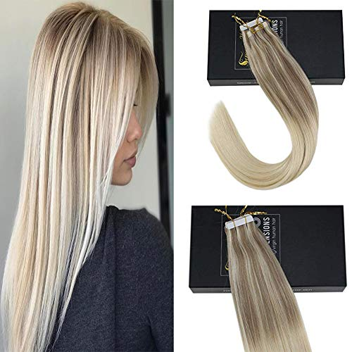 Sunny Tape in Human Hair Extensions 20 inch Glue in Remy Hair Extensions Balayage Tape in Hair Extensions #8 Mix #60 Tape in Blonde Ombre Hair Extensions 20 pcs/50g from Sunny Hair