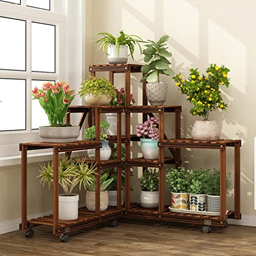 Stand Smc - SMC Flower Stand Solid Wood Antiseptic Flower Multi-Layer Indoor Living Room Corner Green Radish Flower Pot Holder Balcony Multiple Rack Plant Stand Combination Charcoal 652565cm+902590cm