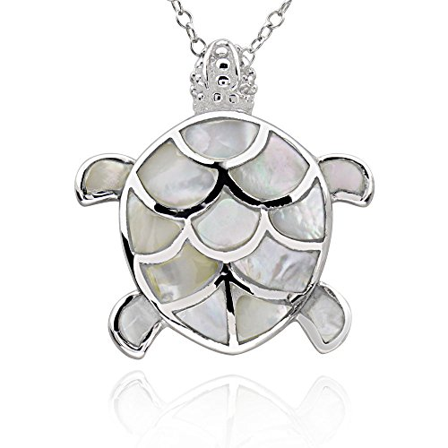 GemsChest Sterling Silver Mother of Pearl Turtle Pendant Necklace 18
