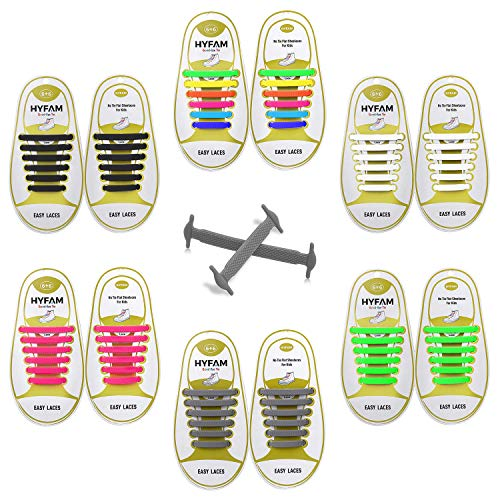 (HYFAM No Tie Shoelaces 6 Pack for Kids Waterproof Elastic Silicone Tieless Shoe Laces for Sneakers Board Shoes Casual)
