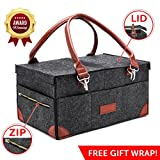 [LID Cover & Zipper Pockets!] Best Diaper Caddy Organizer - Storage Changing Table Crib Baby Lightweight Portable Foldable Nursery Cover Top Sturdy Car Travel Bag Unisex Registry Boy Girl Shower Gift