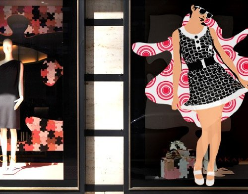 Window Sticker Retro Chica window film window tattoo glass sticker window art window décor window decoration window picture Color: White; Dimensions: 72.8 x 56.7 - Chicos Sunglasses