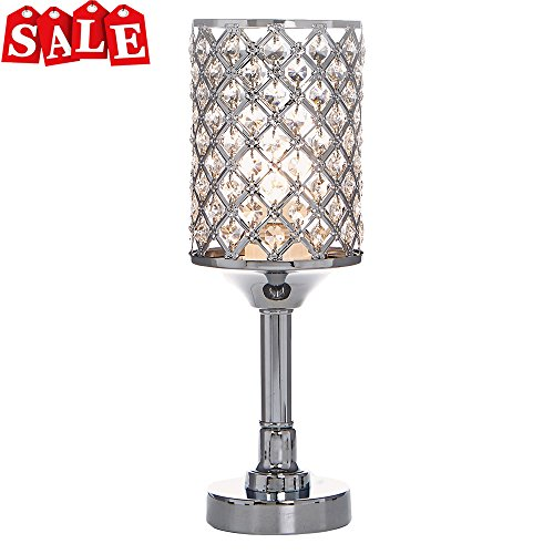 POPILION All-Match Style Romantic Atmosphere Bedroom Crystal Table Lamp,Inlaid Rhombus Crystal