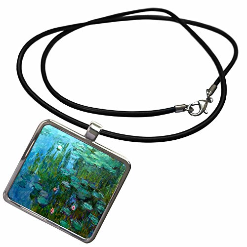 3dRose Florene Impressionism Art - Monets Water Lillies Painting - Necklace with Rectangle Pendant (ncl_49340_1)