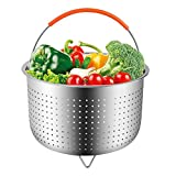 TAKOYI Steamer Basket for Instant Pot 6 or 8 Quart Pressure Cooker with Silicone Handle, Stainless Steel Steamer for Vegetables Fruits Meat and Eggs