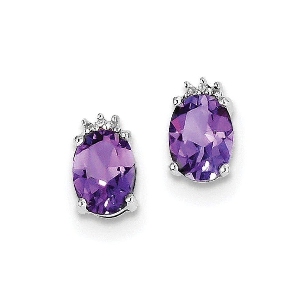 Sterling Silver Rhodium Oval Amethyst & Diamond Post Earrings