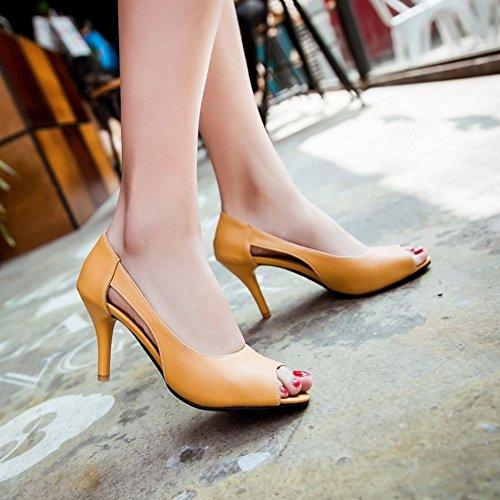 COOLCEPT Mujer Moda sin Cordones Sandalias Punta Abierta Tacon de Aguja Zapatos Amarillo
