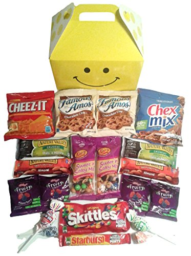 Smile Snacks Care Package features fun Gift Box stuffed with savory snacks and sweet candy treats, the perfect gift for your college student, military, or co-worker