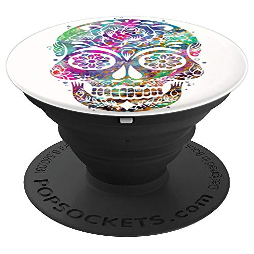 Cool Sugar Skull Mexican Design Colorful Flower Art on White - PopSockets Grip and Stand for Phones and Tablets
