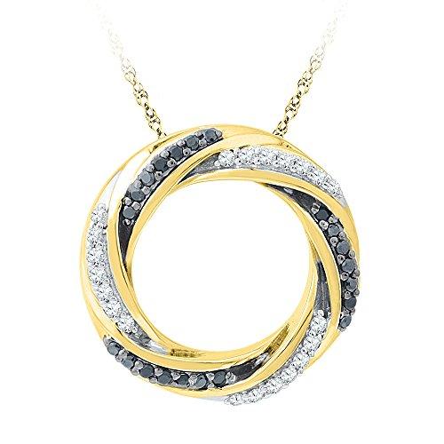 10kt Yellow Gold Womens Round Black Colored Diamond Circle Pendant 1/4 Cttw