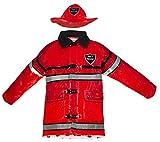 Splashy Firefighter Rain Jacket and Hat (6X/7, Red)
