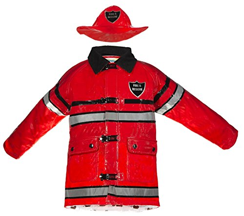 Splashy Firefighter Rain Jacket and Hat (2T, Red)