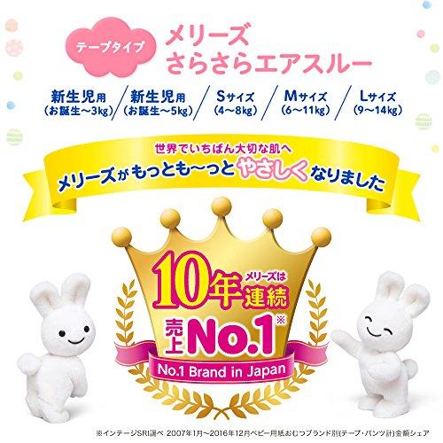 Merries Diapers newborn (Birthday ~ 5kg) free-flowing air through 240 sheets (60 sheets × 4)