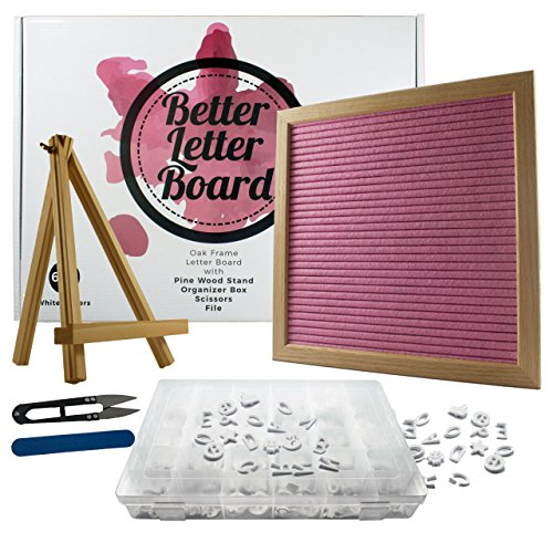 Pink Felt Letter Board Bundle | 10 x 10 inch Changeable Letter Board Set with 640 Letter Board Letters, Accessories, Wood Stand, Letter Box, Scissors & File | Perfect Bridal Shower Gift, Wedding Gift by Better Letter Board