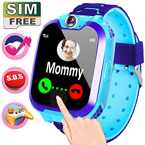 [Prepared SIM Card] Smart Watch with Music Player,Kids Game Smartwatch Phone,Wristbands Digital Watch Boys Girls Toddlers Ages 3-12 Electronic Learnig Toys Student School Supplies Gift SOS Call (Blue) (Best Phone For 14 Year Old)