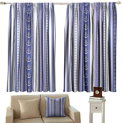 Striped Decor Heat Insulation Curtain Nautical Anchor Icons Tape Motifs Sea Life Contrast Strips Maritime Artwork 70%-80% Light Shading, 2 Panels,63