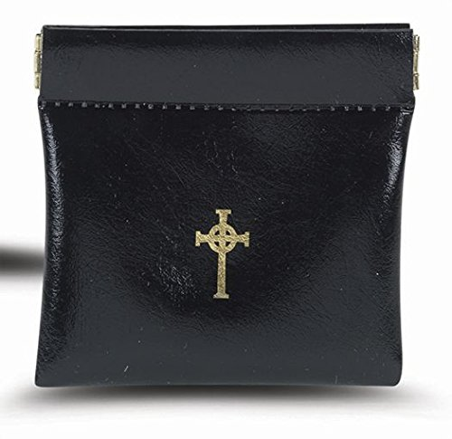 (Black Vinyl Squeeze Rosary Case with Gold Stamped Cross Design, 3 3/4 Inch)