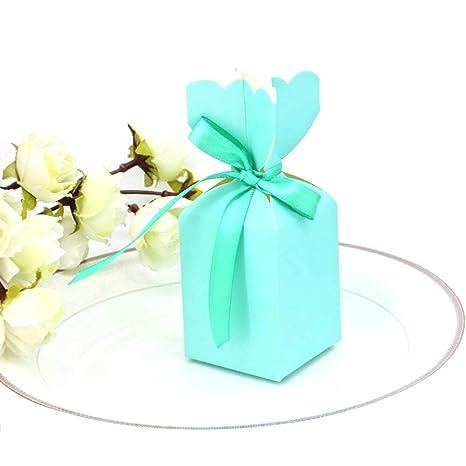 JZK 50 x Azul caja favor boda caja favores papel pequeña caja regalo caramelos caja para