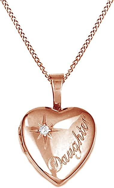 Jewel Zone US Cubic Zirconia Daughter Heart Locket Pendant in 14k Gold Over Sterling Silver