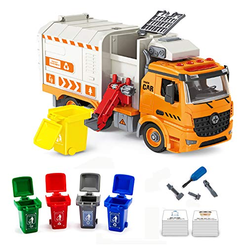 iLifeTech Friction Garbage Trucks Toy with Light and Sound, Assembly Waste Recycling Vehicle Toy for 6-12 Years Old Boy and Girls