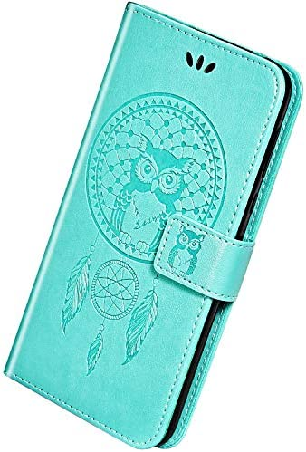 Herbests Kompatibel mit Samsung Galaxy A10e Handyhülle Dünne Retro Eule Traumfänger Motiv Muster Bookstyle LederHülle Klappbar Leder Tasche Flip Case Schutzhülle Kartenfächer Magnetisch,Grün