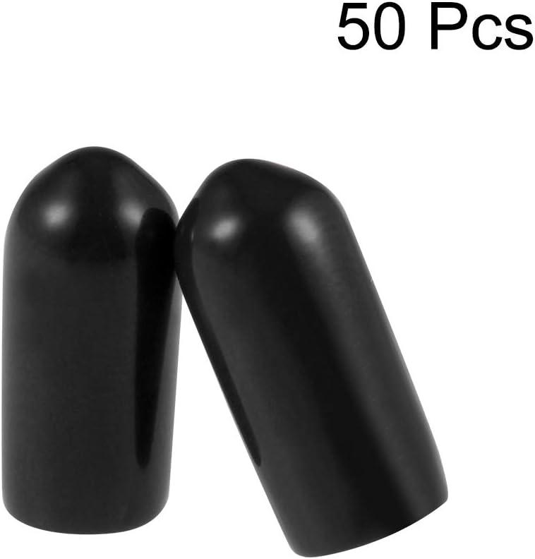 Vis Filetage Protecteur 2.5mm ID Rond Capuchon Extr/émit/é Noir Tube Caps 50Pcs