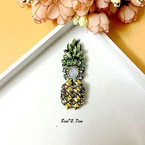 (SMALL-CHIPINC - 1 pcs Rhinestone pineapple Patch for Clothes Sewing on Rhinestone Beaded Applique for Jackets Jeans Bags Shoes Beading)