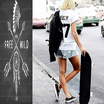 Classic Concave Skateboard Dream Catcher and Crossed Arrows Tribal Legend in Indian Style with Longboard Maple Deck Extreme Sports and Outdoors Double Kick Trick for Beginners and Professionals : Sports & Outdoors