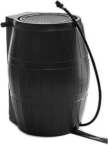 FCMP Outdoor RC4000-BLK 45-Gallon BPA Free Home Rain Water Storage Catcher Barrel, Black