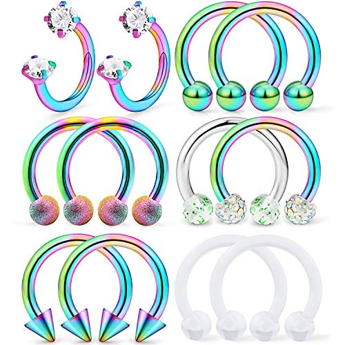 (Dyknasz Horseshoe Circular Barbell Clear Diamond CZ Braided Barbell Nose Septum Rings Hoop Helix Cartilage Earring Surgical Steel Piercing Jewelry Retainer for Women Men 16G 10mm Rainbow)