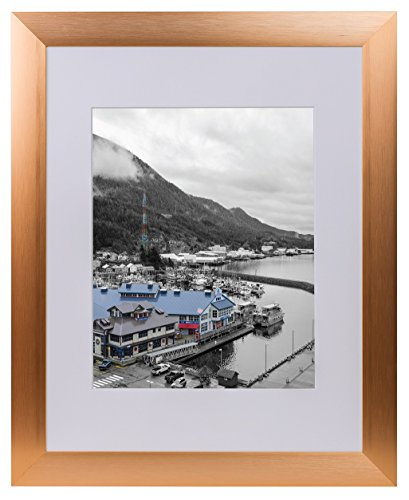 Golden State Art Rose Gold Color Satin Aluminum Landscape Or Portrait Photo Frame With Ivort Color Mat & Real Glass (11x14) (State Frame Landscape Picture)