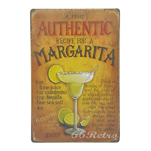 66Retro Authentic Recipe For A Margarita, Vintage Retro Metal Tin Sign, Wall Decorative Sign, 20cm x 30cm