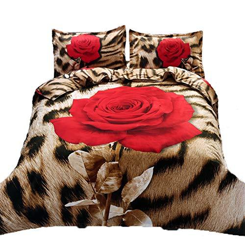 Suncloris,3d Leopard Rose,Queen Size,4pc Bedding Sheet Sets,1Duvet Cover,1Flat Sheet,2 Pillowcase(no Comforter inside)