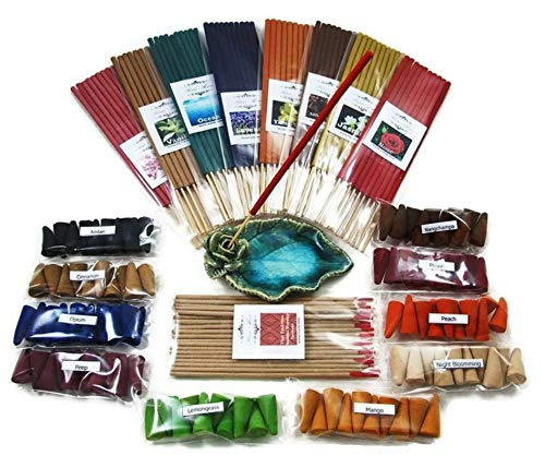 (Prima Aroma set 265, 19 scented, Thai tradition temple incense 20 sticks, 8 packs of 10 smokeless fragrance incense tube, 10 packs of 10 aroma Incense cones & handmade ceramic Incense burner holder)