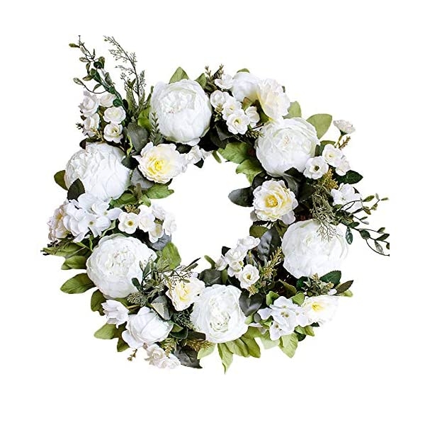 muzi Artificial Peony Flower Wreath Silk Cloth Wreath with Green Leaves for Front Door Wedding Window Candlestick Wall Home Holiday Decor (White)