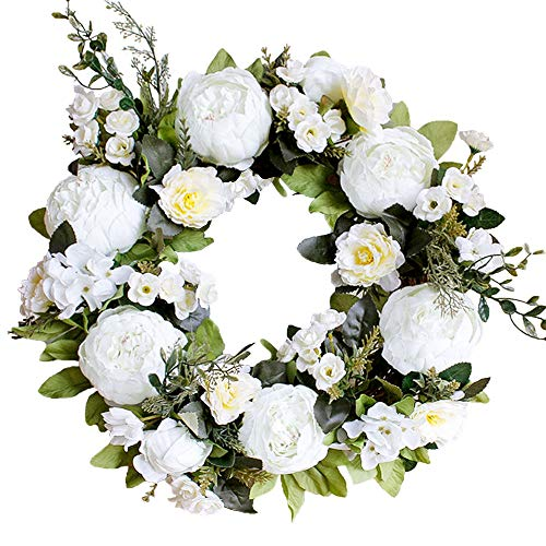 (LASPERAL Artificial Peony Flower Wreath 15
