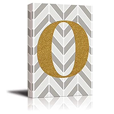 Made With Top Quality, Majestic Style, The Letter O in Gold Leaf Effect on Geometric Background Hip Young Art Decor