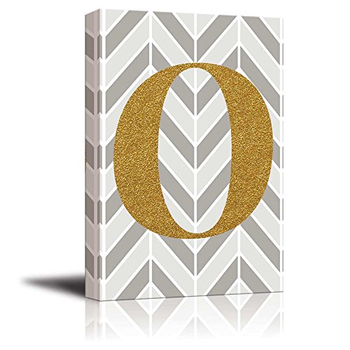 The Letter O in Gold Leaf Effect on Geometric Background Hip Young Art Decor