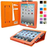 Snugg iPad Air 2 Case - Executive Smart Cover With Card Slots & Lifetime Guarantee (Orange Leather) for Apple iPad Air 2