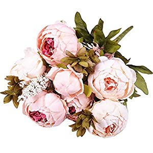 Artificial Flowers, Fake Flowers Silk Peony bouquets Wedding Home Decoration, Pack of 1 (Spring Pure Pink) 90